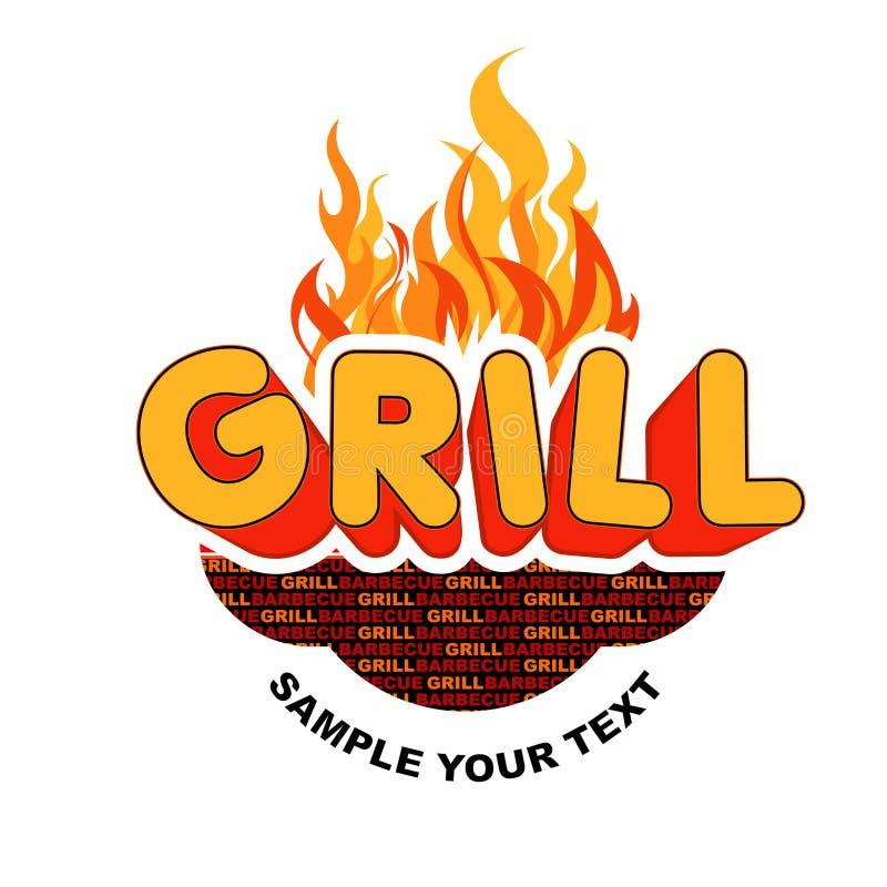 Etiqueta engomada de la parrilla en fondo de las llamas. libre illustration