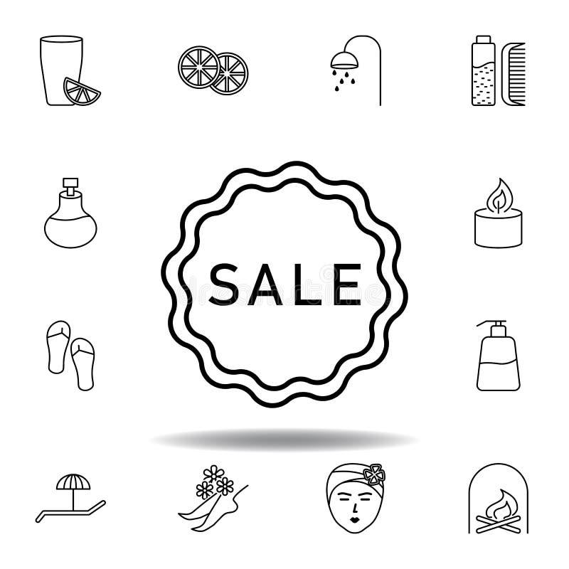 Etiqueta engomada de la venta, icono del esquema del balneario Sistema detallado del balneario y relajar el icono de los ejemplos libre illustration