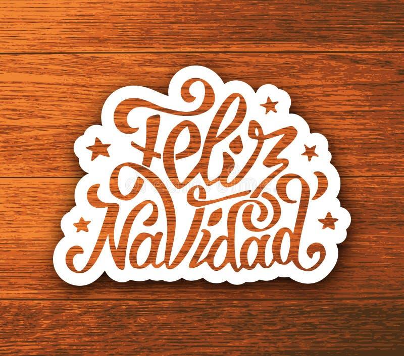 Etiqueta engomada de las letras de la mano del navidad de Feliz en la madera libre illustration