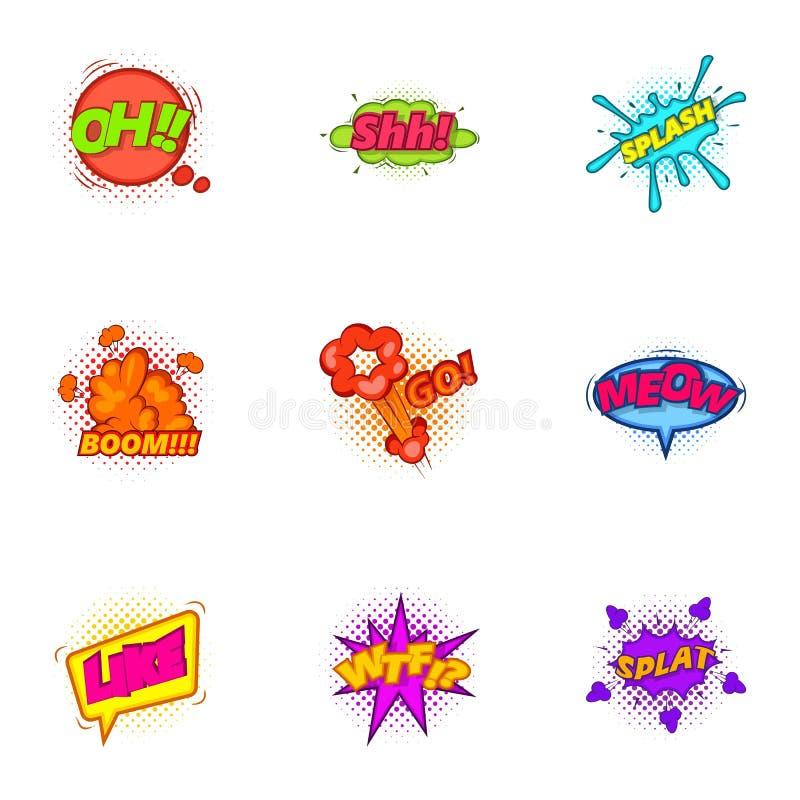Etiqueta engomada de moda para los iconos del mensajero fijados stock de ilustración