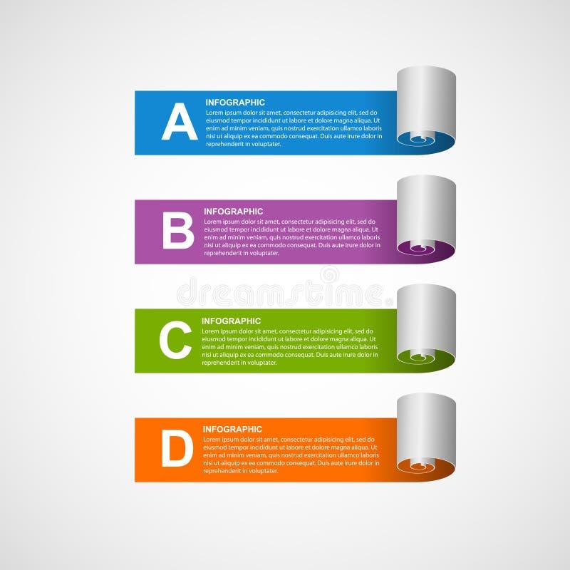 Etiqueta engomada de papel, banderas, opciones infographic Elemento del diseño libre illustration