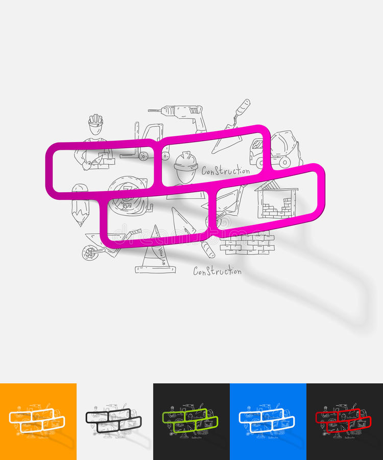 Etiqueta engomada de papel del ladrillo con los elementos dibujados mano libre illustration