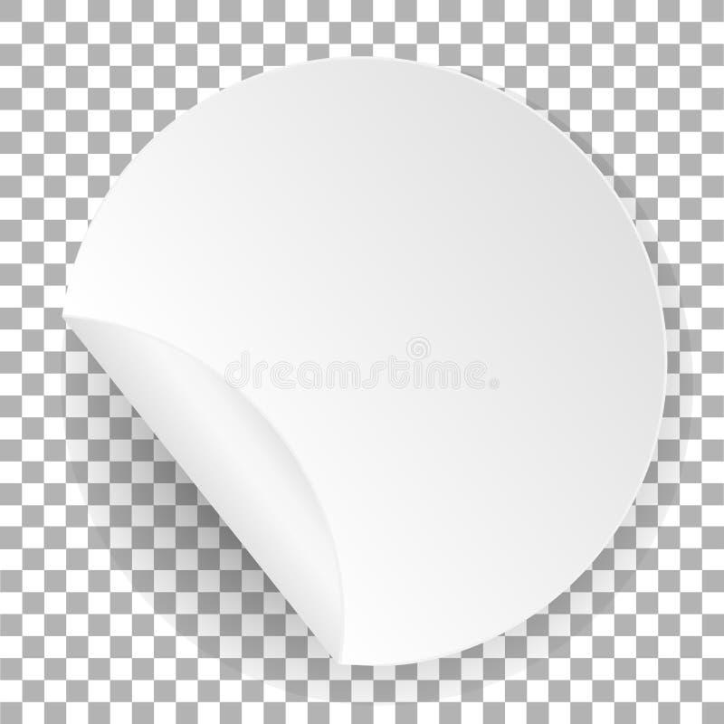 Etiqueta engomada de papel redonda Plantilla blanca de la etiqueta con el borde doblado con la sombra Elemento del círculo para h ilustración del vector