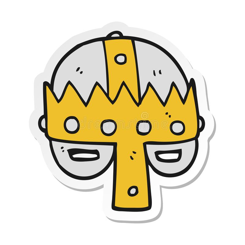 etiqueta engomada de un casco medieval de la historieta ilustración del vector