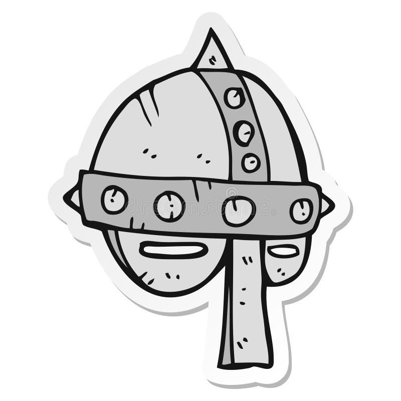 etiqueta engomada de un casco medieval de la historieta stock de ilustración