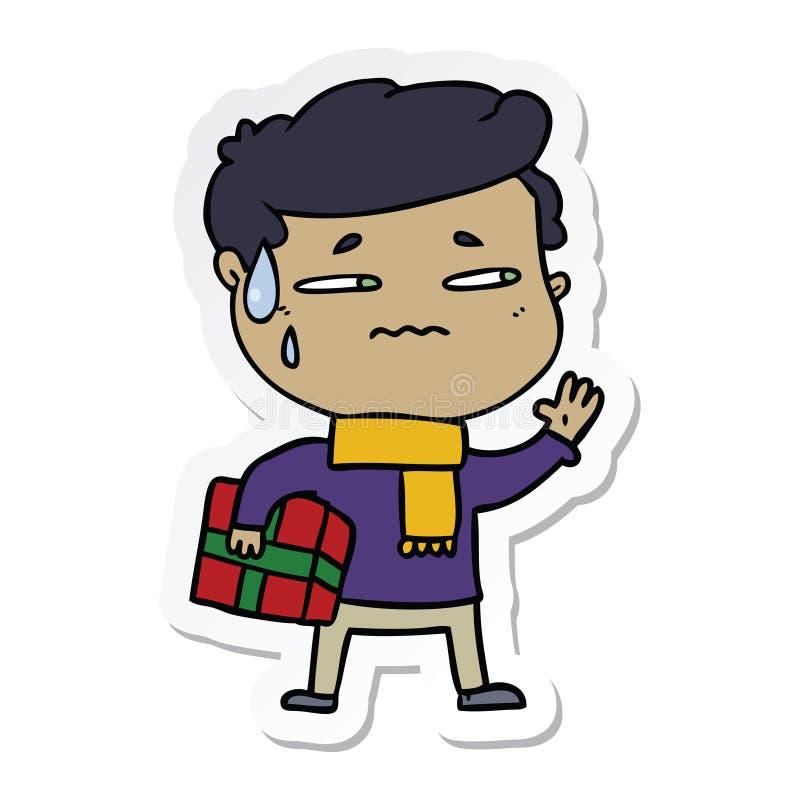 etiqueta engomada de un hombre ansioso de la historieta con el regalo de la Navidad libre illustration