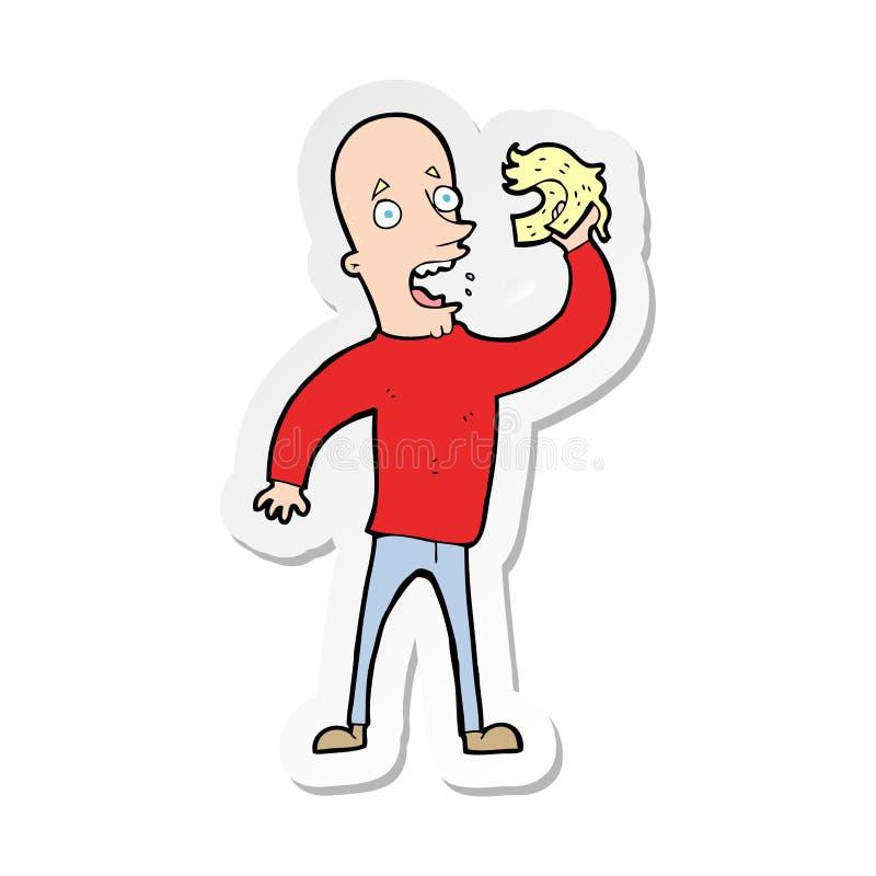 etiqueta engomada de un hombre calvo de la historieta con la peluca stock de ilustración