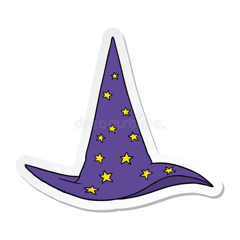 Etiqueta engomada de un sombrero del mago de la historieta libre illustration