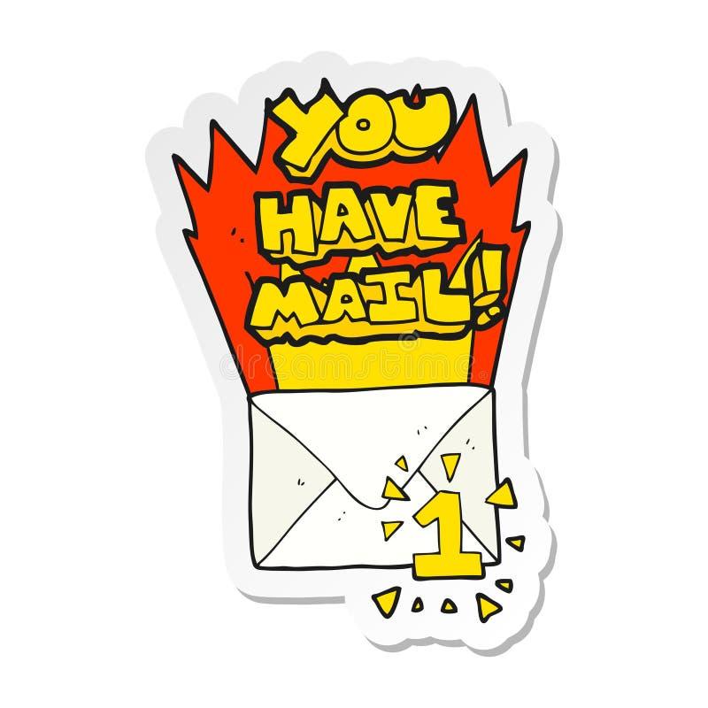 etiqueta engomada de una historieta usted tiene s?mbolo del correo stock de ilustración