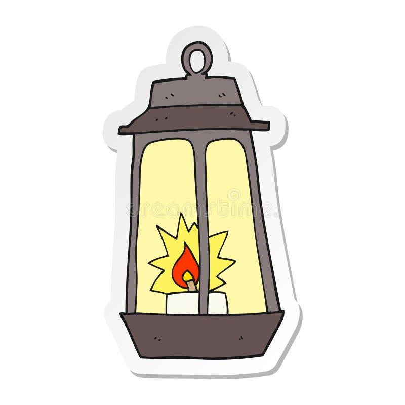 etiqueta engomada de una linterna de la historieta stock de ilustración