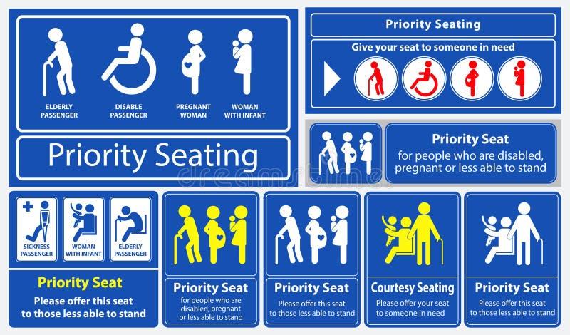 Etiqueta engomada del asiento de prioridad usando en el transporte público, como el autobús, el tren, el tránsito rápido total y  libre illustration