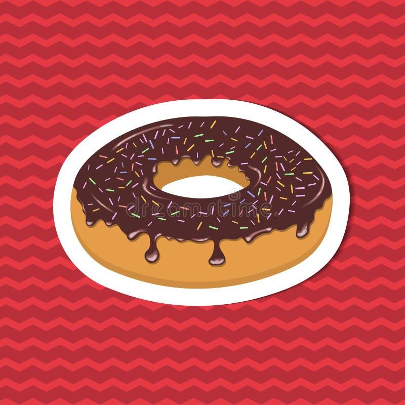 Etiqueta engomada del buñuelo esmaltado en fondo rayado rojo Elementos del diseño gráfico para el menú, cartel, folleto Ejemplo d ilustración del vector