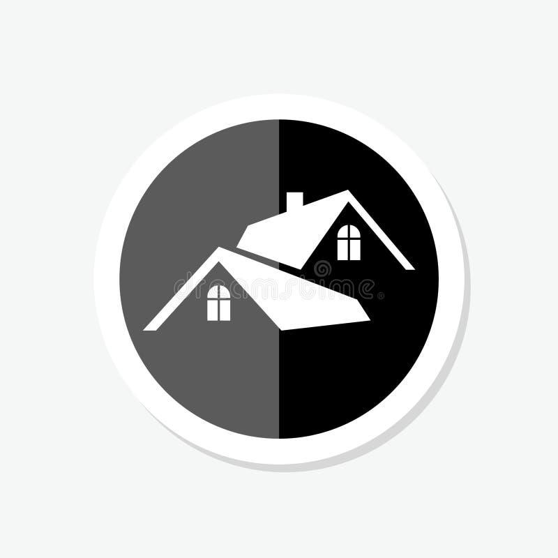 Etiqueta engomada del círculo de la casa Icono minimalista de la ronda negra aislado en el fondo blanco Silueta simple de la casa stock de ilustración