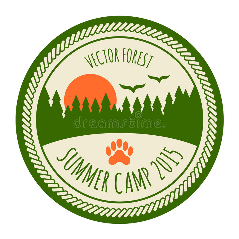 Etiqueta engomada del campamento de verano del vintage libre illustration