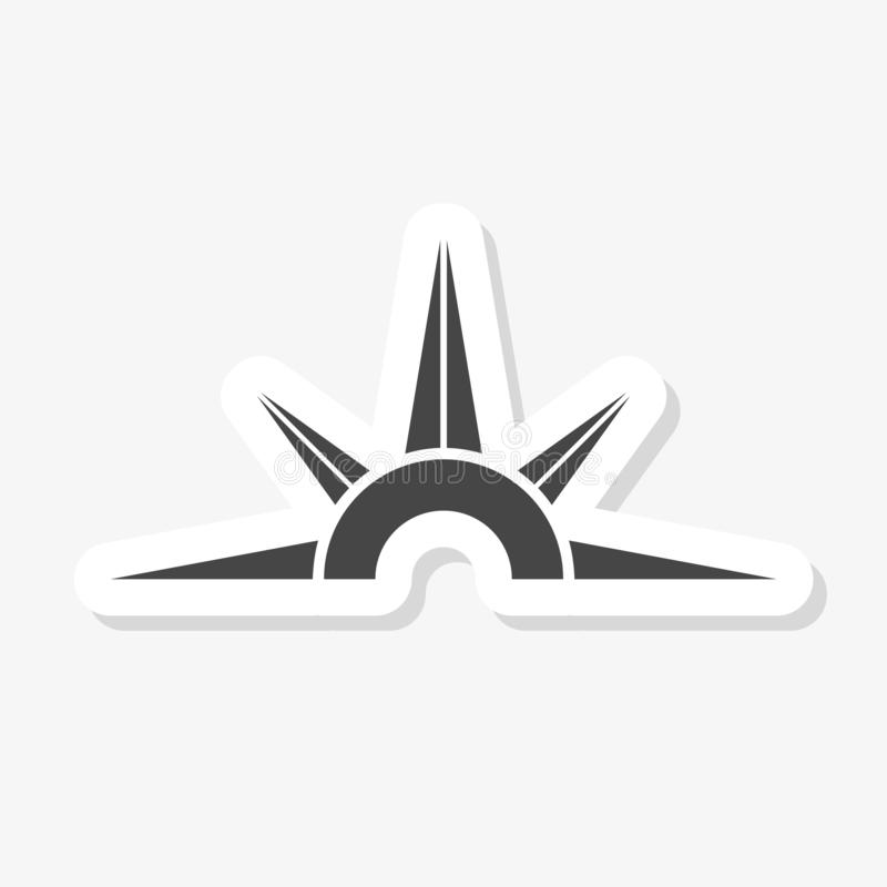 Etiqueta engomada del compás en estilo de moda del diseño Icono del comp?s aislado en el fondo blanco ilustración del vector