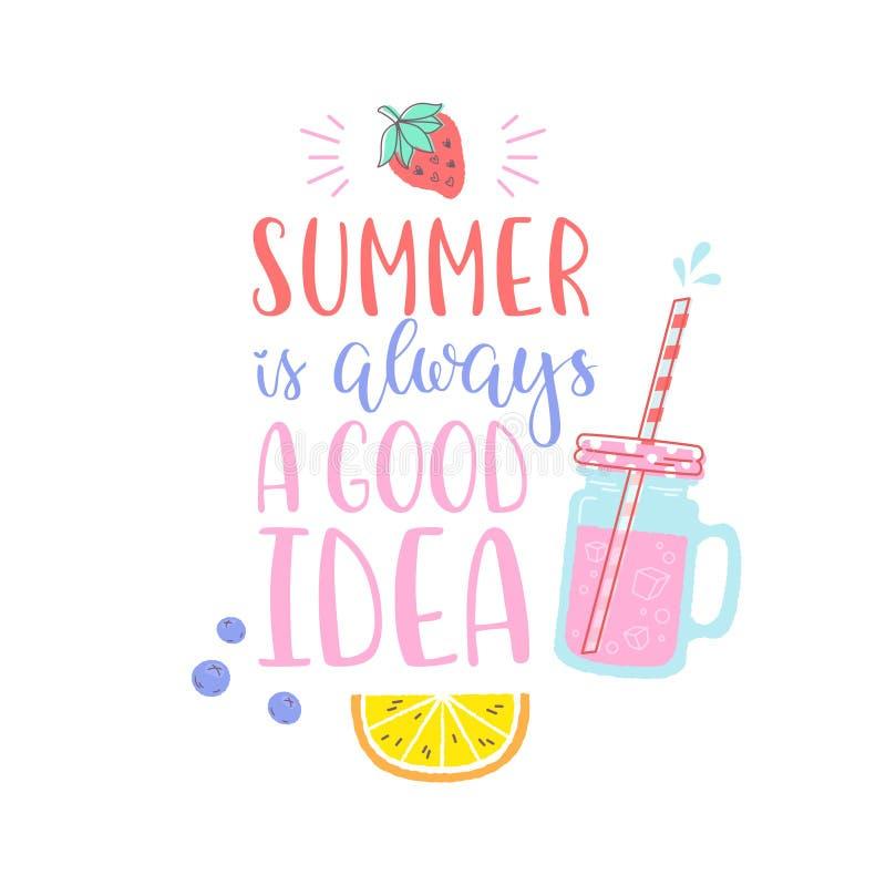 Etiqueta engomada del diseño del verano con los elementos tropicales de la playa stock de ilustración