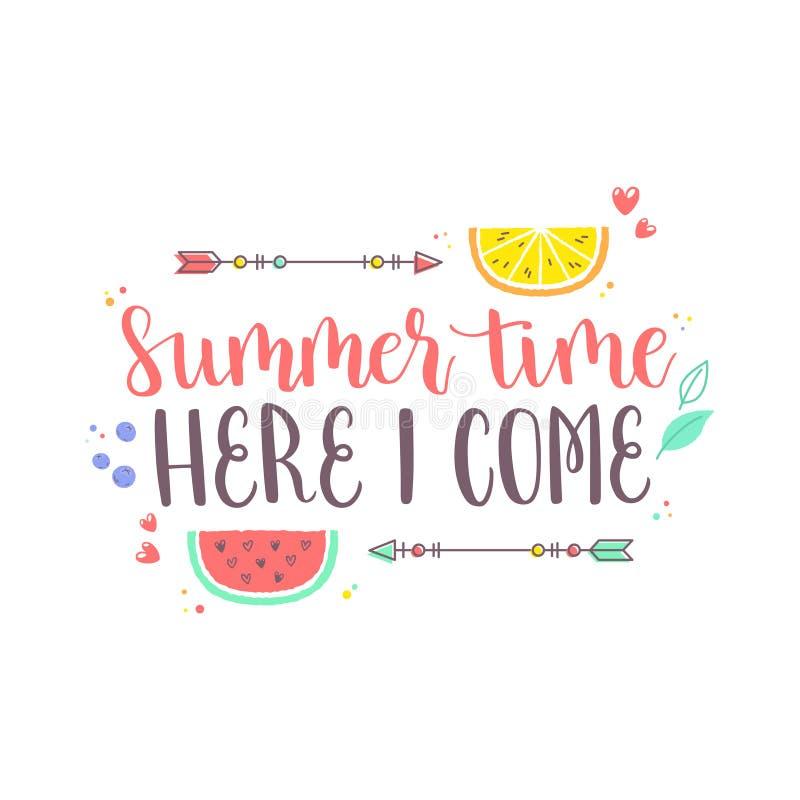 Etiqueta engomada del diseño del verano con los elementos tropicales de la playa libre illustration