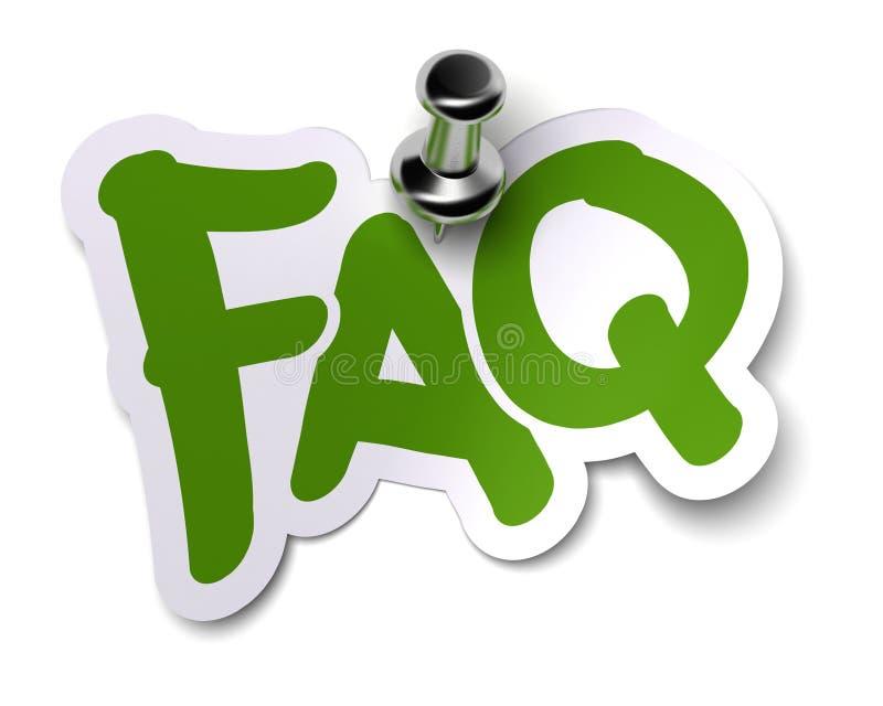 Etiqueta engomada del FAQ ilustración del vector