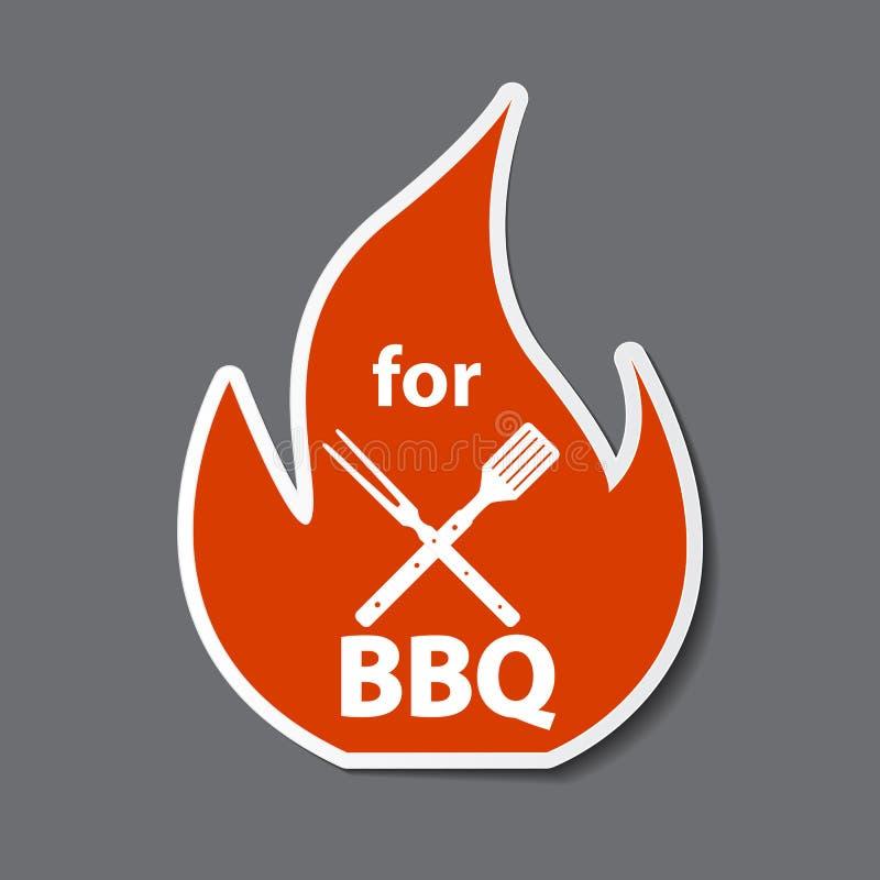 Etiqueta engomada del icono del Bbq con las herramientas de la parrilla Ilustración del vector libre illustration