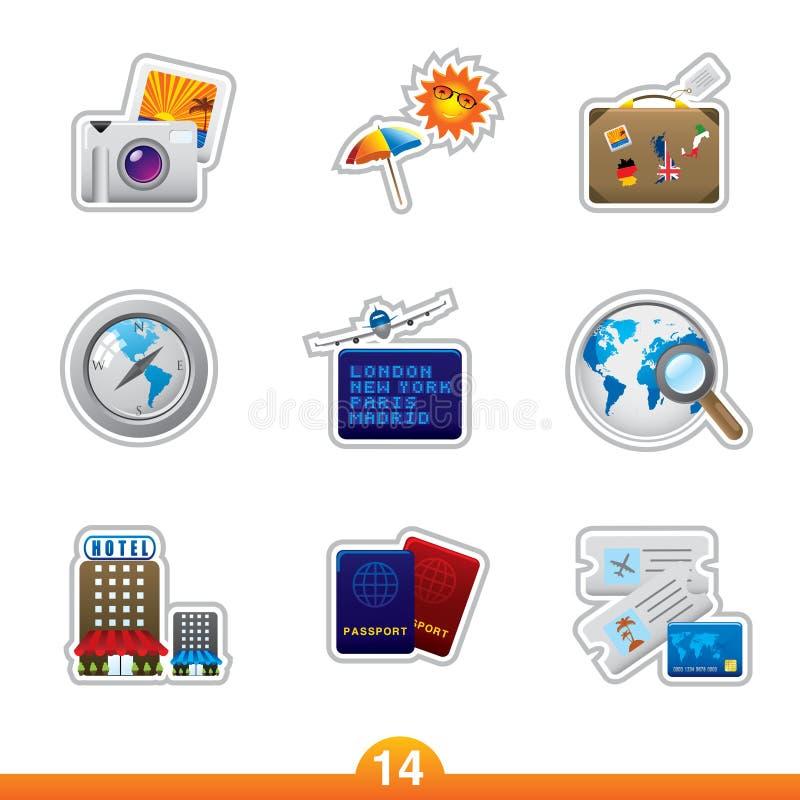 Etiqueta engomada del icono fijada - recorrido libre illustration