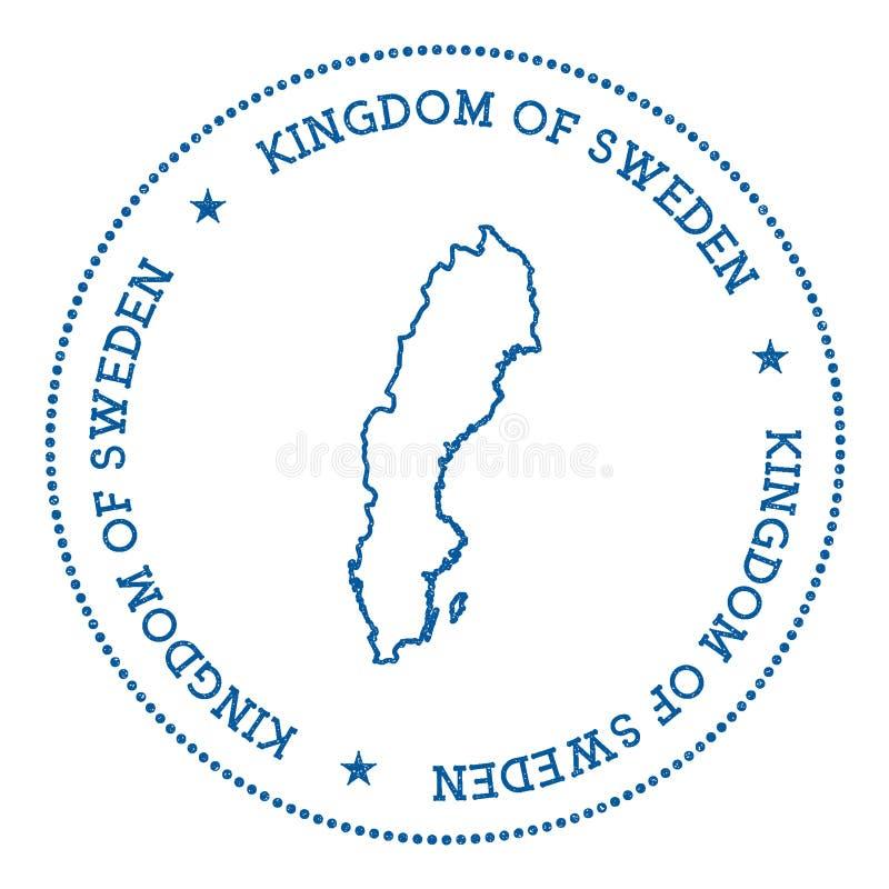 Etiqueta engomada del mapa del vector de Suecia ilustración del vector