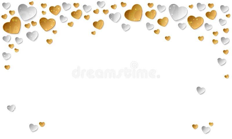 Etiqueta engomada del oro y corazones de papel de plata en el fondo blanco Ejemplo del vector para el día de tarjetas del día de  ilustración del vector