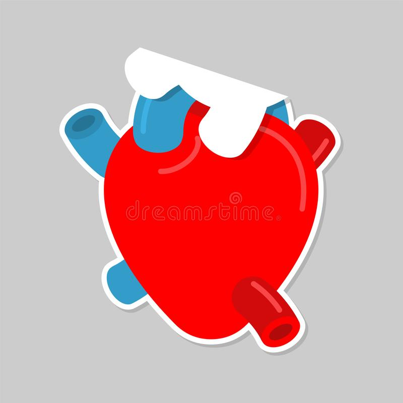 Etiqueta engomada del papel del corazón de la anatomía Amor del símbolo para el día de San Valentín ilustración del vector