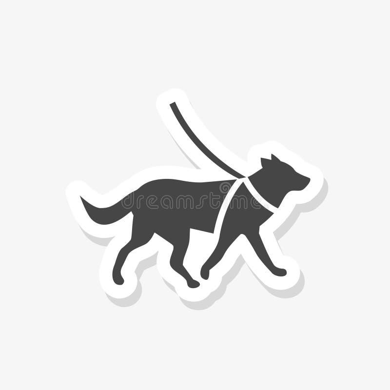 Etiqueta engomada del perro guía en el estilo de papel libre illustration