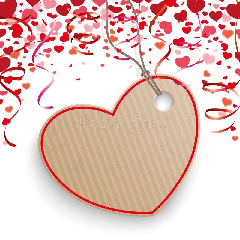 Etiqueta engomada del precio del cartón de la cubierta de las guirnaldas de los corazones del confeti stock de ilustración