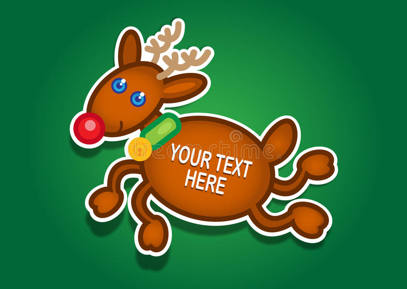 Etiqueta engomada del vector del reno de la Navidad libre illustration