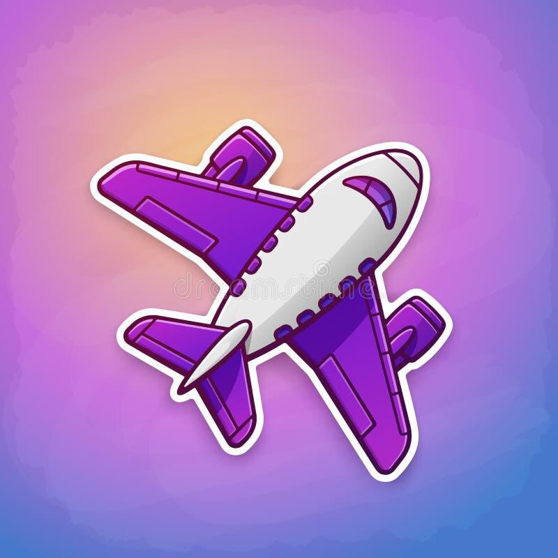 Etiqueta engomada del vuelo del avión del juguete en el fondo del cielo ilustración del vector