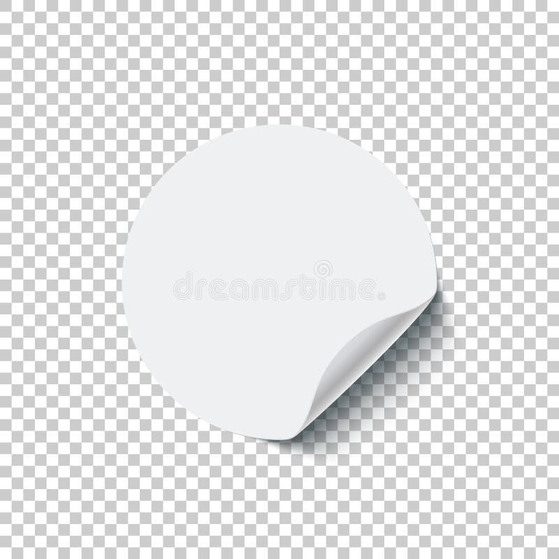 Etiqueta engomada en blanco blanca redonda con el borde encrespado aislado en fondo transparente Elemento del diseño del vector ilustración del vector