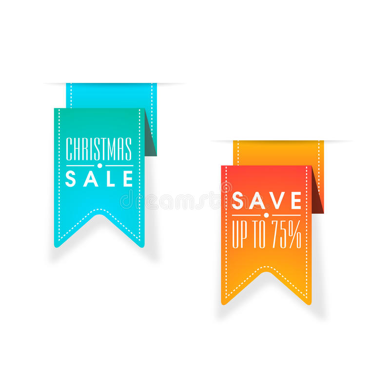 Etiqueta engomada, etiqueta o etiqueta de la venta para la celebración de la Navidad stock de ilustración