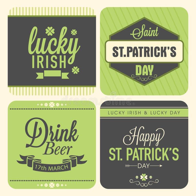 Etiqueta engomada, etiqueta o etiqueta para la celebración del día de St Patrick ilustración del vector