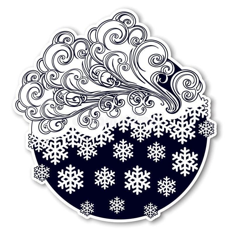 Etiqueta engomada festiva del invierno del estilo del cuento de hadas Nubes adornadas rizadas con copos de nieve que caen Icono d stock de ilustración