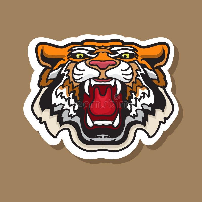 Etiqueta engomada fresca del tigre del rugido Ejemplo del vector de la cabeza enojada stock de ilustración