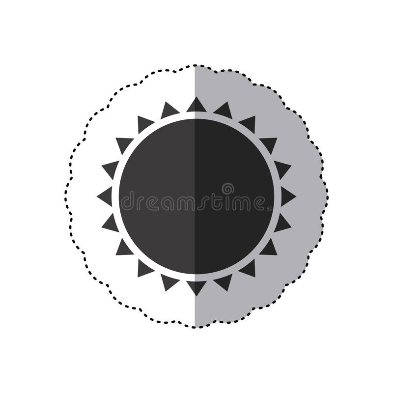 etiqueta engomada gris de la silueta con cierre abstracto del sol para arriba stock de ilustración
