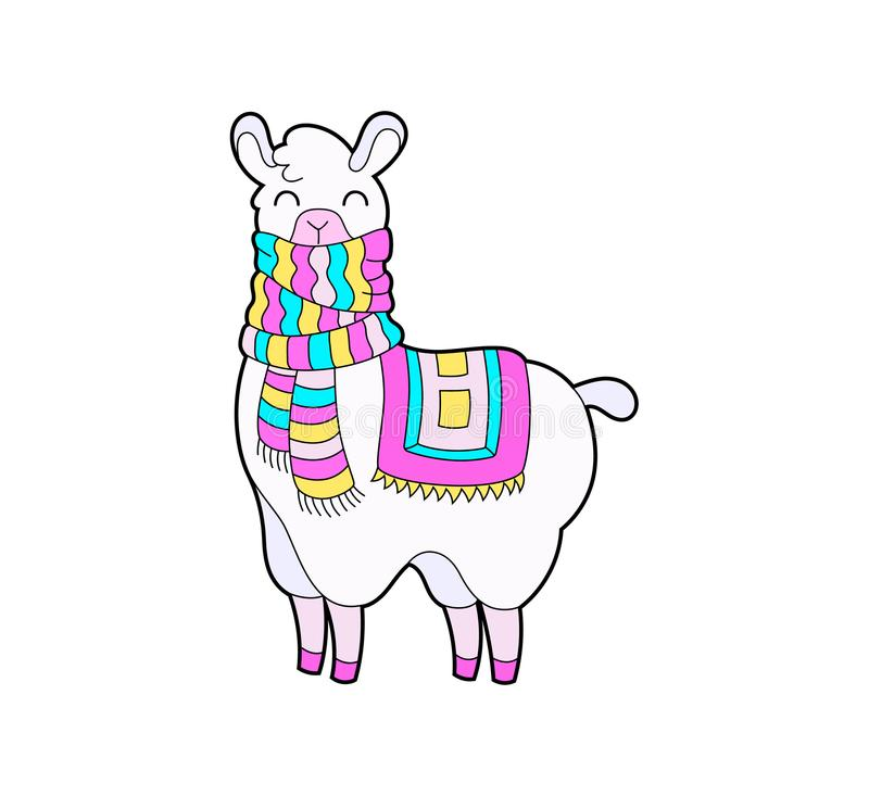 Etiqueta engomada linda de la llama y de la alpaca Ejemplo del vector del carácter del lama de la historieta libre illustration