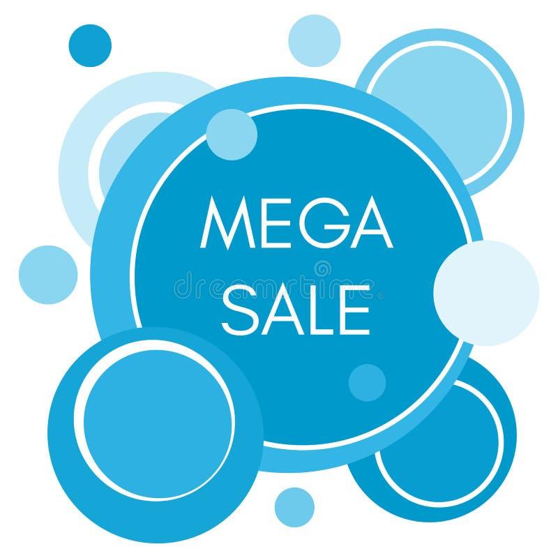 Etiqueta engomada mega de la venta con las formas redondas azules abstractas libre illustration