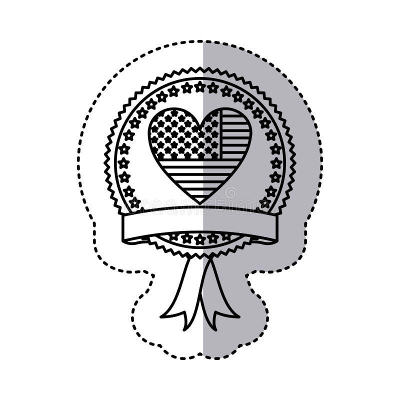 etiqueta engomada monocromática de la silueta con la bandera de Estados Unidos en la forma del corazón y la etiqueta en marco red libre illustration