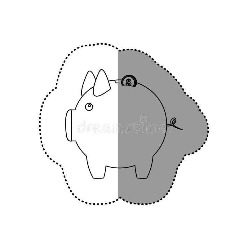 etiqueta engomada monocromática del contorno de la caja de dinero en la forma de guarro libre illustration