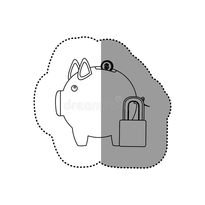 etiqueta engomada monocromática del contorno de la caja de dinero en la forma de guarro y del candado stock de ilustración