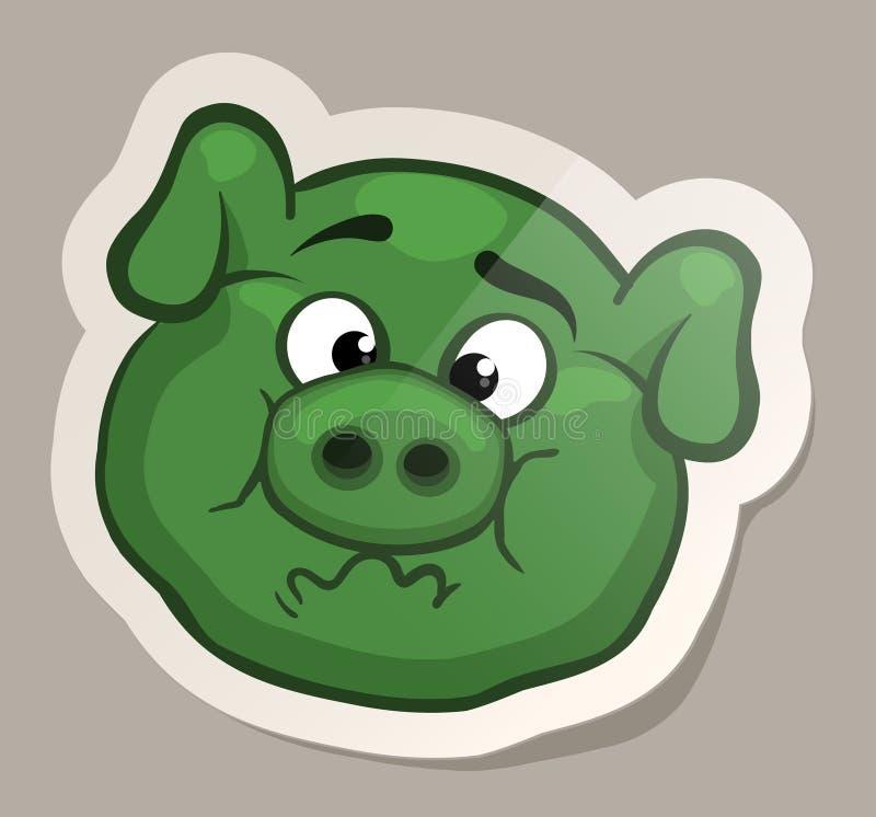Etiqueta engomada nauseabunda del cerdo ilustración del vector