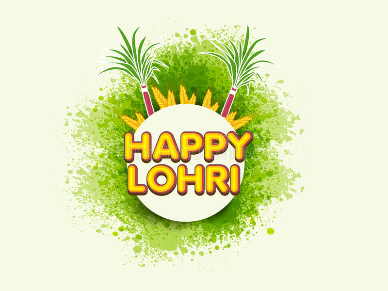Etiqueta engomada o etiqueta para el festival del Punjabi, celebración del lohri libre illustration