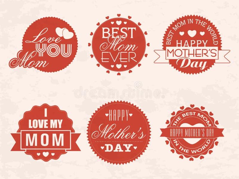 Etiqueta engomada o etiqueta para la celebración feliz del día de madre stock de ilustración