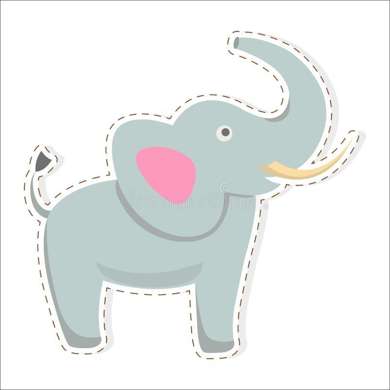 Etiqueta engomada o icono plana del vector de la historieta linda del elefante ilustración del vector