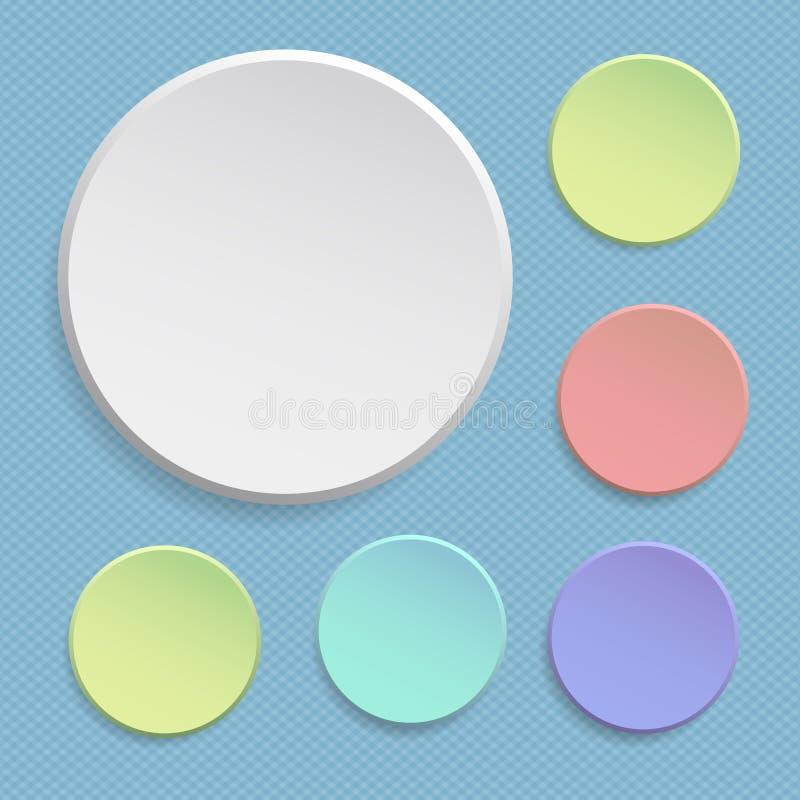 Etiqueta engomada o insignias redonda, banderas coloridas del papel de la oferta fijadas Botones del círculo Etiqueta de la etiqu stock de ilustración