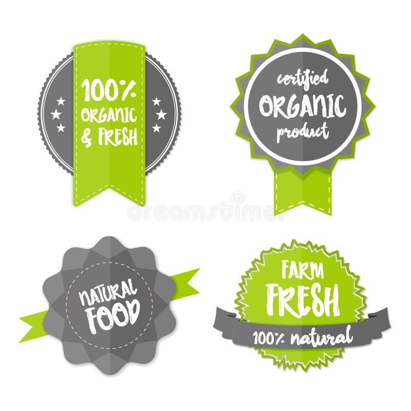 Etiqueta engomada orgánica fresca del verde del eco de la granja del vector de la etiqueta stock de ilustración