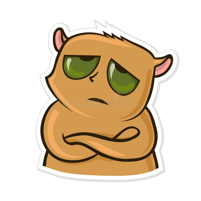 Etiqueta engomada para el mensajero con el animal divertido Hámster cansado o trastornado Ilustración del vector, aislada en blan stock de ilustración