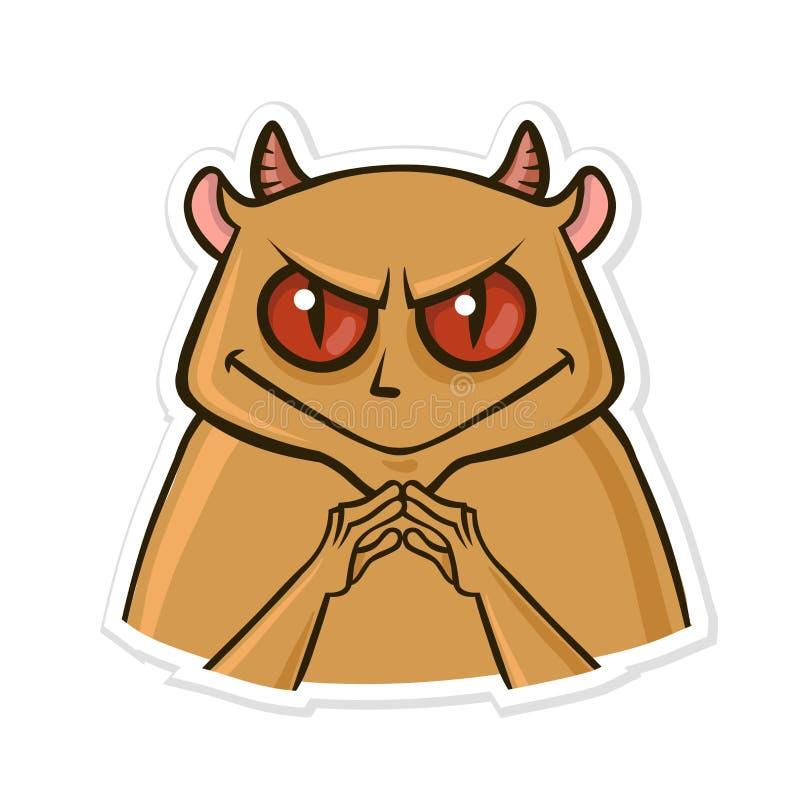 Etiqueta engomada para el mensajero con el animal divertido El hámster del diablo está hasta algo Ejemplo del vector aislado en b stock de ilustración